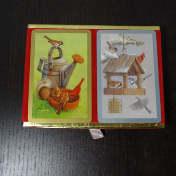 Vintage Congress Playing Cards with Bird Prints - 2 Decks in Red Velvet and Gold Foil Box - Made In Spain - Like New