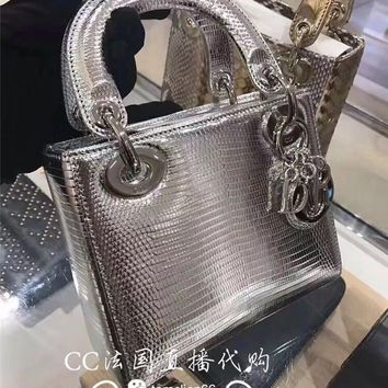 DCCK2 1154 Lady Dior mini Lizard Fashion Handbag Sliver