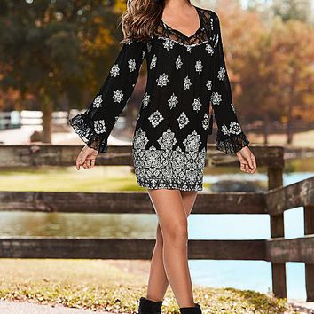 Printed lace detail dress, boot
