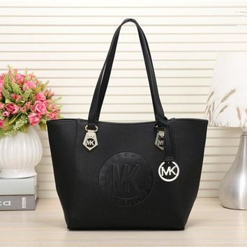 """Michael Kors"" Simple Fashion Tote Single Shoulder Shopper Bag Women MK Letter Embossed Medium Handbag"