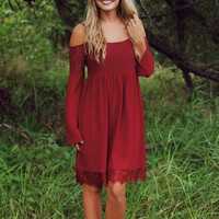 Look Before You Fall Dress- Burgundy