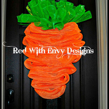 Medium Version,The Original Carrot Wreath for Easter, Easter Wreath, Carrot Wreath,  Carrot, Wreath,  Deco Mesh Wreath, Mesh Wreath
