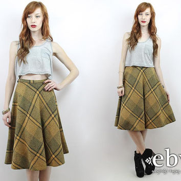 Vintage 70s Yellow + Grey Plaid Knee Skirt XS S Plaid Skirt High Waist Skirt High Waisted Skirt Schoolgirl Skirt Wool Skirt Plaid Midi Skirt