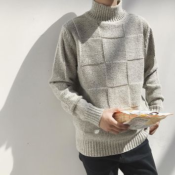 HOT 2018 New Autumn Winter Trend Casual Hit Color Loose Semi-high Collar knitted Sweater men Male Korean Version Of The Best