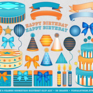 Blue and Orange Birthday Clip Art, Geometric Theme, cakes, candles, balloons, presents, banners, letters, stripes, shapes, Buy 2 Get 1 Free