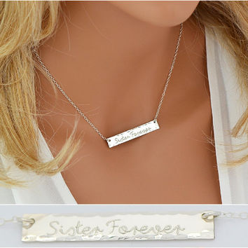 Hammered Name Bar Necklace, Sterling Silver Bar Necklace, Large Bar Necklace, Gold Bar Necklace, Rose Gold Necklace, 6x40