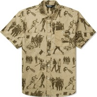 Undefeated Khaki Riot Button Up Shirt   HYPEBEAST Store. Shop Online for Men's Fashion, Streetwear, Sneakers, Accessories