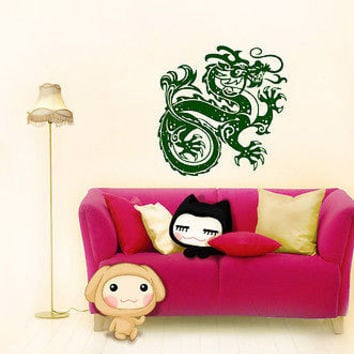WALL VINYL STICKER  MURAL  ART DECAL  FAIRYTALE CHINESE DRAGON ANIMAL  A1295