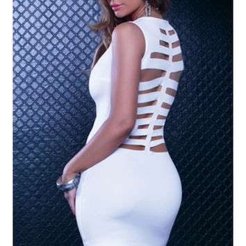 Skeleton Laser Cutout Mini Dress - White