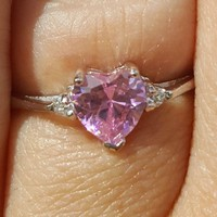Sterling Silver Pink Topaz Heart cut Kids and Ladies Ring size 3-12