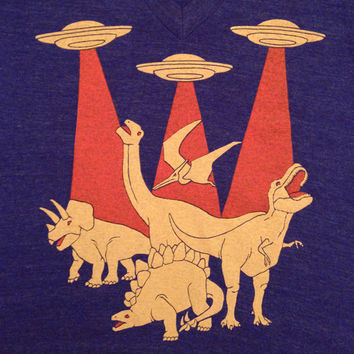 SALE Dinosaurs vs Aliens - Unisex V-neck T-shirt Awesome Funny Flying Saucer UFO Geek Battle SciFi Retro Tee Shirt Cool Tshirt Vneck Indigo