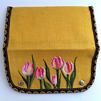Painted Jute Purse, Pink Tulips, Yellow Burlap Clutch, Floral Purse, Fabric Art, Small Ladies Wallet, Eco Fashion, Bridesmaid Gift