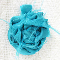 Turquoise Satin Fabric Rosette on Turquoise Ribbon Hair Clip
