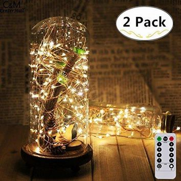 2 Pack Battery Operated Remote String Light, Waterproof 8 Modes 60 LED String Lights 20FT Copper Wire Firefly Lights Remote Control for DIY Wedding Party Dinner (Warm White)