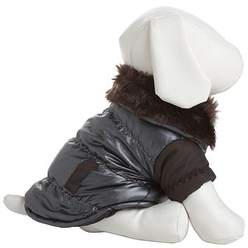 Ultra Fur 'Track-Collared' Metallic Pet Jacket- Metallic Brown: X-Small