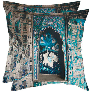 Safavieh Home Furniture PIL450A-2020-SET2 Adari 20-Inch Turquoise and Grey Decorative Pillows - Set of Two