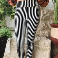 KENDALL STRIPE LEGGINGS- BLK/WHT