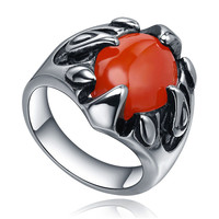 Stainless Steel Dragon Claw W. Red Crystal Ring