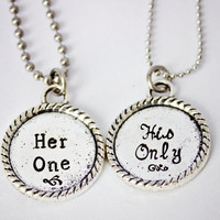 Her One, His Only - The Original - Hand Stamped Couples Jewelry - Tibetan Silver Necklace Set - Custom Made - Gift for Couple, Newlyweds