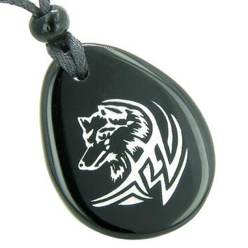Courage and Protection Lucky Wolf Spiritual Amulet Black Onyx Wish Totem Gem Stone Necklace Pendant