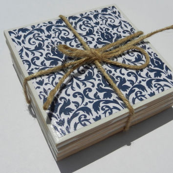 Blue and White Pattern Tile Coasters
