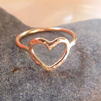 Gold Heart Ring, Gift of Love, Sweetheart, CUSTOM Order, Love, Hammered, Gift for Her, Stocking Stuffer, Handmade