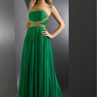 Hunter Green Amazing A-line Strapless Beaded Pleated Floor Length Chif