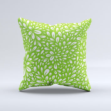 Light Green & White Floral Sprout Ink-Fuzed Decorative Throw Pillow