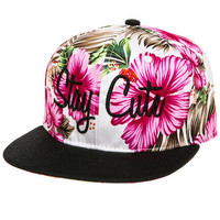 The Hawaiian Script Snapback in Floral and Black