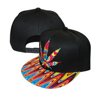 Marijuana Pot Leaf Weed Canabis Embroidered Flat Bill Snapback Cap - Bright Multi Color