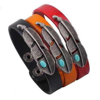 Personality Ornaments Turquoise Alloy Feather Leather Button Bracelet
