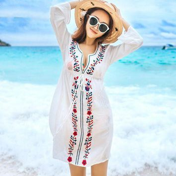 PEAPGC3 NIUMO NEW Beach Sports Swim Female Cover Ups Coat Bikini Blouse Outside the Ride Clothes Long Section Embroidered Beach Clothes
