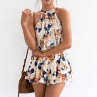 Fashion sleeveless T-shirt printing short shorts two-piece outfit