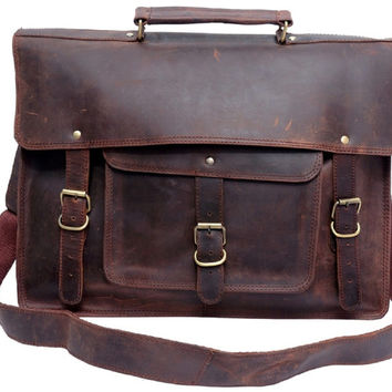 Rustic Leather Messenger Bag Leather Satchel Briefcase Shoulder Bag Laptop Bag Macbook Bag