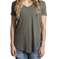 Army Piko V-Neck Curved Hem Top