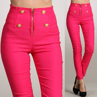 Pink Sailor High Waist Button Pants Zipper Front