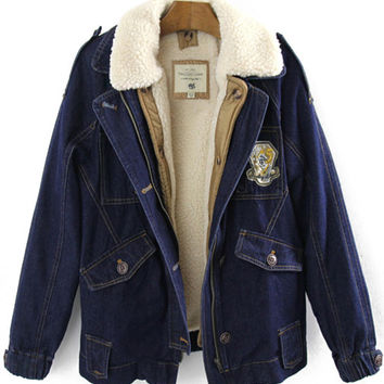 Lapel Epaulet Denim Jacket with Pocket