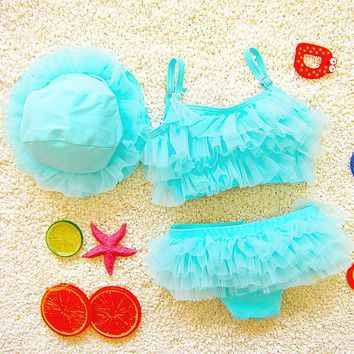 3PCs Set Tulles Princess Girls Swimwears Bikinis Sets W/Cap Kids Children Swimsuits Baby Bathing Suits Swimming Clothes 2017 DEO