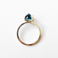 London Blue Topaz Solitaire Inverted Ring