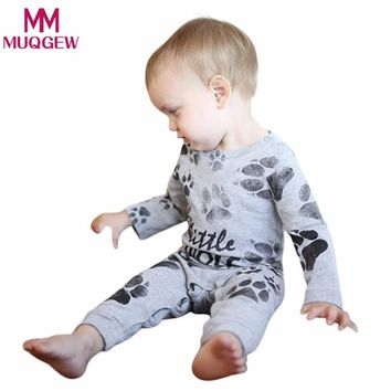 2018 Toddler baby clothes Newborn Infant Baby Girl Boy rompers winter Letter Paws Eyes Print Romper Jumpsuit Outfit Clothes