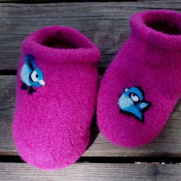 Felt Clogs Orchid with Birds