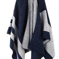 Navy Imitated Cashmere Striped Cape