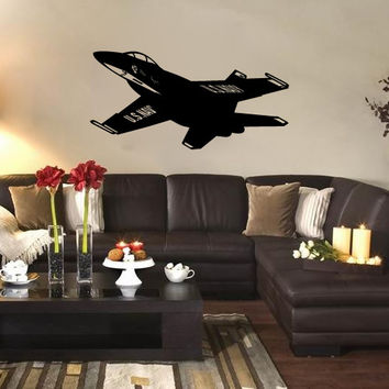 US Navy FA-18 Blue Angels Fighter Jet Airplane Silhouette Vinyl Wall Decal