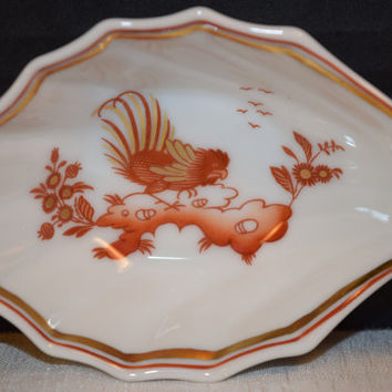 Ginori Siena Rust Handle Nut Dish Vintage Italian Chicken Porcelain Handled Dish Gold Accents Elegant Dining Italian Dinnerware