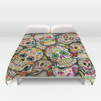 Sugar Skull Collage Duvet Cover by Spooky Dooky | Society6