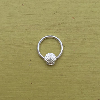 Seashell Septum Ring - Solid Sterling Silver - Septum Daith Rook