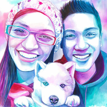 CUSTOM GIFT for GIRLFRIEND, boyfriend and dog portrait, couple with dog portrait, wedding with dog, watercolor painting,special gift for her