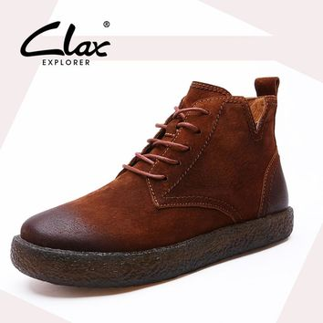 CLAX  Women Autumn Boot Suede Leather Shoes Female Ankle Boots Fashion Retro Vintage Style Casual Footwear Lady Western Boot