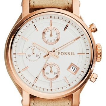 Women's Fossil 'Original Boyfriend' Chronograph Leather Strap Watch, 38mm