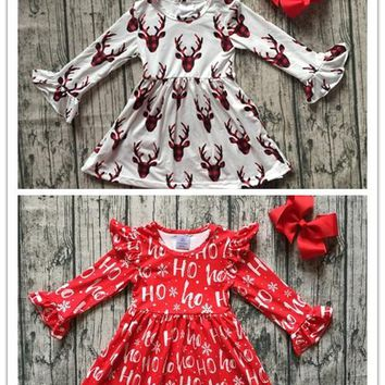 baby girls boutique Christmas party dress girls plaid reindeer d 9c92279fcf2e